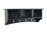 Storage Cubbie Shelf with Hooks in Black - Shaker Cottage - Alaterre - ASCA04BL