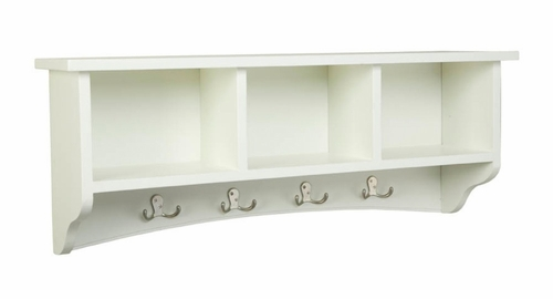 Storage Cubbie Shelf with Hooks in Ivory - Shaker Cottage - Alaterre - ASCA04IV