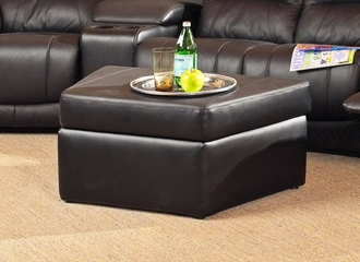 Storage Ottoman in Black Leather - Coaster