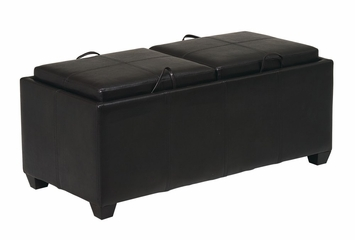 Storage Ottoman with Dual Cushions and Trays in Dark Brown - Office Star - MET302