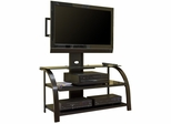 StudioEdge Panel TV Stand with Mount - Black / Dark Espresso / Black Glass - Sauder Furniture - 404700
