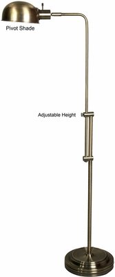 Stylecraft Adjustable Pharmacy Floor Lamp, Antique Brass