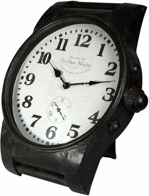 Stylecraft Black Wrist Watch Style Iron Clock