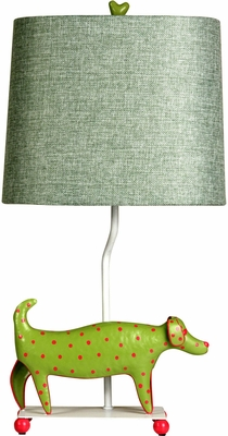 Stylecraft Mini Iron Dog Lamp, Green Dog, Green Shade