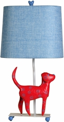 Stylecraft Mini Iron Dog Lamp, Red Dog, Blue Shade