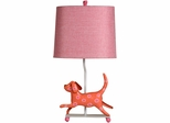 Stylecraft Mini Iron Dog Lamp, Red Dog, Pink Shade