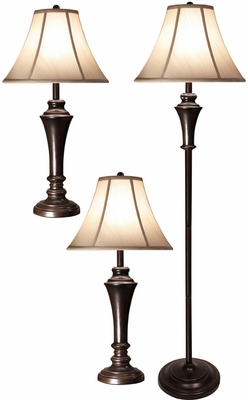 Stylecraft Set of 2 Aged Bronze Steel Table Lamps & Club Floor Lamp