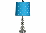 Stylecraft Stacked Ball Lamp, Steel & Acrylic, Blue Shade with White Polka Dots