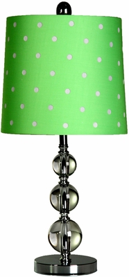 Stylecraft Stacked Ball Lamp, Steel & Acrylic, Green Shade with White Polka Dots