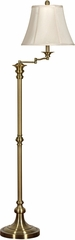 Stylecraft Swing Arm Floor Lamp, Antique Brass Finish