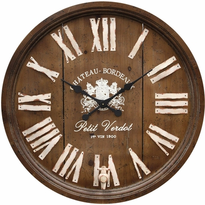 Stylecraft Wine Barrel Replica Wood Clock