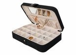 Sueded Jewelry Box with 24 Sections in Onyx Black - Maria - Jewelry Boxes by Mele - 0054562M