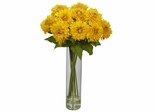 Sunflower with Cylinder Silk Flower Arrangement - Nearly Natural - 1246-YL