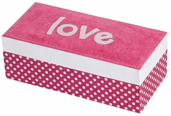 Suzy Embroidered Love Fashion Jewelry Box in Hot Pink - 1357