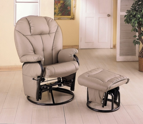 Swivel Glider with Ottoman in Beige Leatherette - Coaster
