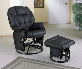 Swivel Glider with Ottoman in Black Leatherette - Coaster
