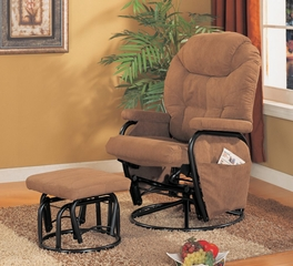 Swivel Glider with Ottoman in Brown Microfiber - Coaster