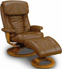 Swivel Leather Recliner and Ottoman - Mac Motion Chairs - 819-73-102