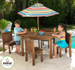 Table and Stacking Chairs with Striped Umbrella - KidKraft Furniture - 00046