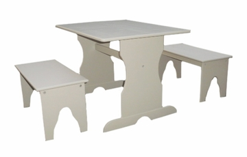 Table with Two Benches in Linen White - JT08-3027