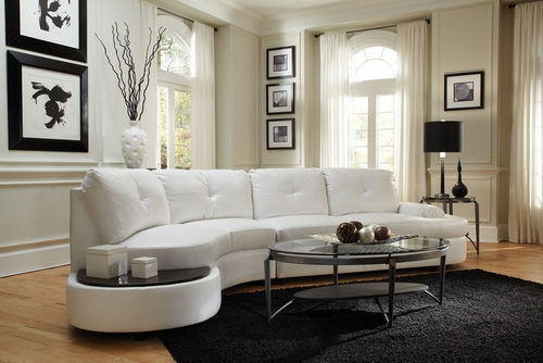 Talia Contemporary Sectional Conversation Sofa with Built-In Table - 503431