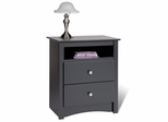 Tall 2 Drawer Night Stand in Black - Sonoma Collection - Prepac Furniture - BDC-2428