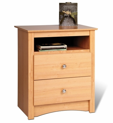 Tall 2 Drawer Night Stand in Maple - Sonoma Collection - Prepac Furniture - MDC-2428