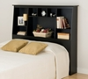 Tall Full / Queen Size Bookcase Headboard in Black - Sonoma Collection - Prepac Furniture - BSH-6656