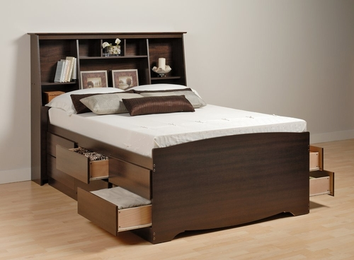 Tall Full Size Platform Bed with Bookcase Headboard - Prepac Furniture - EDB-5612-SET-2