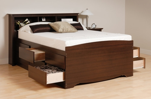 Tall Full Size Platform Bed with Headboard - Prepac Furniture - EDB-5612-SET-1