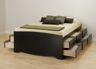 Tall Full Size Platform Storage Bed in Black - Sonoma Collection - Prepac Furniture - BBD-5612