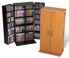 Tall Locking Media Storage Cabinet in Oak/Black - Prepac Furniture - OVS-0205