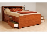 Tall Queen Size Platform Bed with Headboard in Cherry - Monterey Collection - Prepac Furniture - CBQ-6212-SET