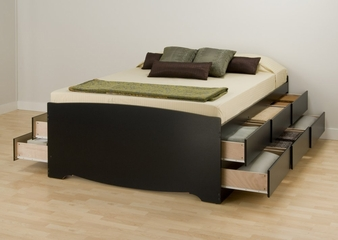 Tall Queen Size Platform Storage Bed in Black - Sonoma Collection - Prepac Furniture - BBQ-6212