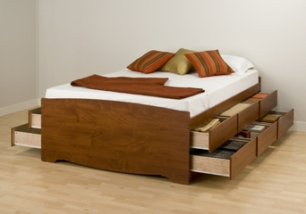 Tall Queen Size Platform Storage Bed in Cherry - Monterey Collection - Prepac Furniture - CBQ-6212