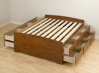 Tall Full Size Platform Storage Bed in Cherry - Monterey Collection - Prepac Furniture - CBD-5612