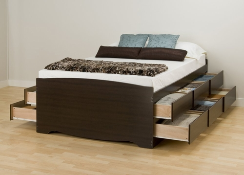 Tall Queen Size Platform Storage Bed - Prepac Furniture - EBQ-6212