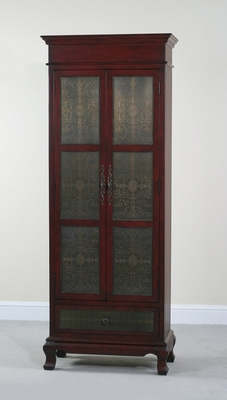 Tall Red Copper Faced Cupboard - Rachel - Ultimate Accents - 80446CB