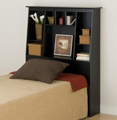 Tall Twin Size Bookcase Headboard in Black - Sonoma Collection - Prepac Furniture - BSH-4556