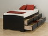 Tall Twin Size Platform Storage Bed in Black - Sonoma Collection - Prepac Furniture - BBT-4106