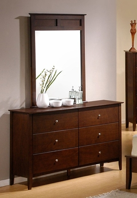 Tamara Dresser with Mirror in Walnut - Coaster - 201153-54-SET