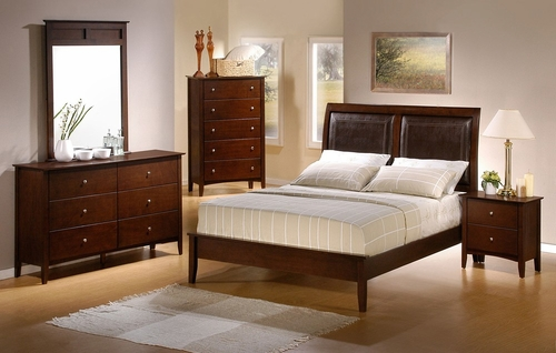 Tamara Queen Size Bedroom Furniture Set in Walnut - Coaster - 201151Q-BSET