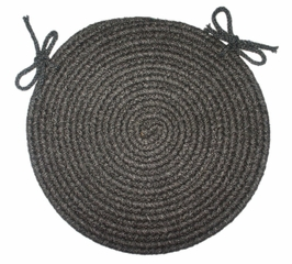 "Tapestry Black 15"" Braided Chair Pad - Rhody Rug - TA-8215CPBL"