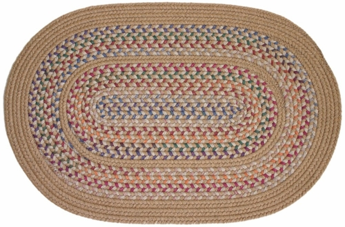 Tapestry Wheat 4' Round Braided Rug - Rhody Rug - TA-524RDWH