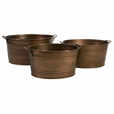 Tauba Oval Copper Planter with Iron Handles (Set of 3) - IMAX - 44106-3