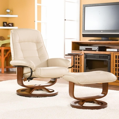 Taupe Leather Recliner and Ottoman - Holly and Martin