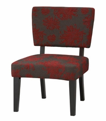 Taylor Accent Chair - Red, Gray, Black Flower - Linon Furniture - 36080RGB-01-KD-U