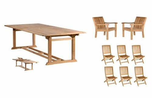 Teak Outdoor Furniture Set with Rectangular Table - Antonini Outdoor - NT01000SET