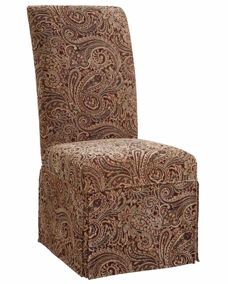 Teak, Scarlet and Green Paisley Tapestry Skirted