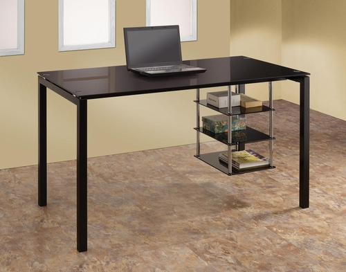 Tempered Glass Desk with Shelves in Black - 801502